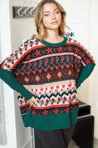 Give Me Joy Green Holiday Print Sweater 3