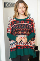 Give Me Joy Green Holiday Print Sweater 4