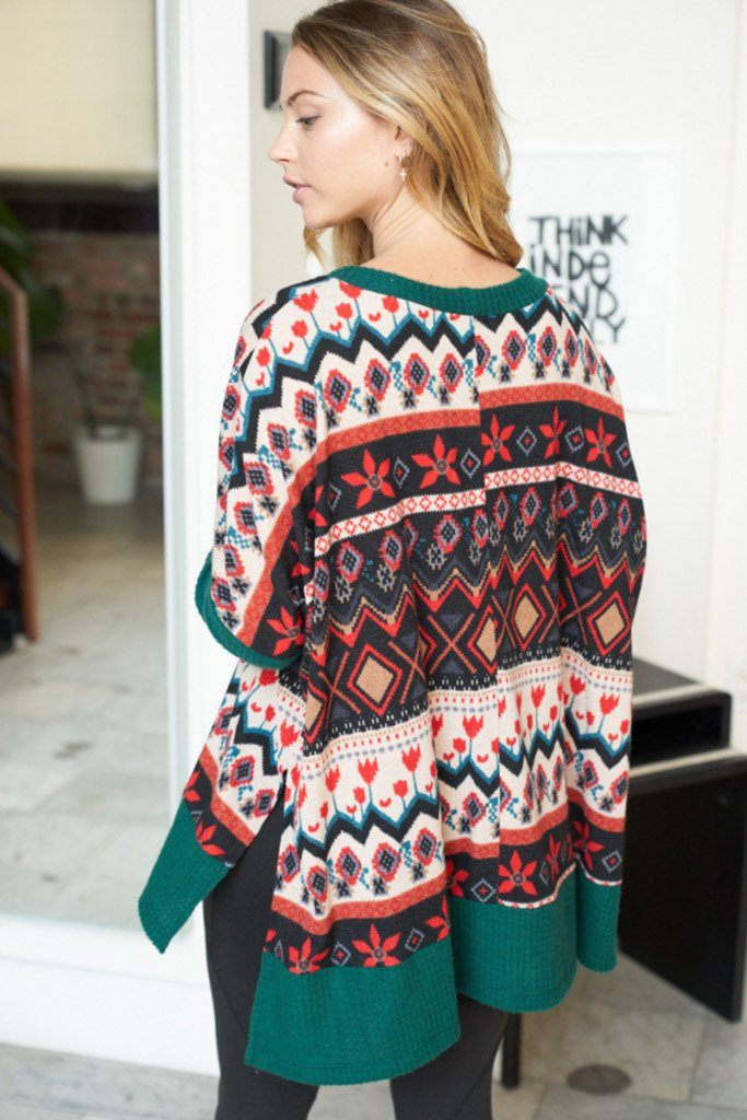 Give Me Joy Green Holiday Print Sweater 2