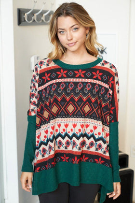Give Me Joy Green Holiday Print Sweater 1