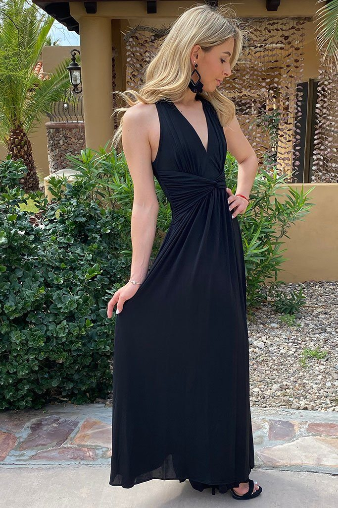 Glimpse Of Glamour Black Halter Maxi Dress 3