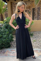 Glimpse Of Glamour Black Halter Maxi Dress 4