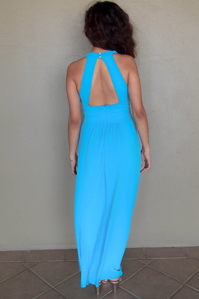 Glimpse Of Glamour Turquoise Blue Halter Maxi Dress 3