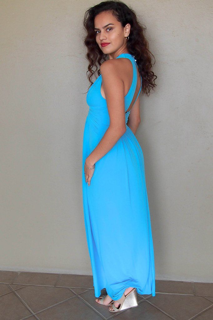 Glimpse Of Glamour Turquoise Blue Halter Maxi Dress 2