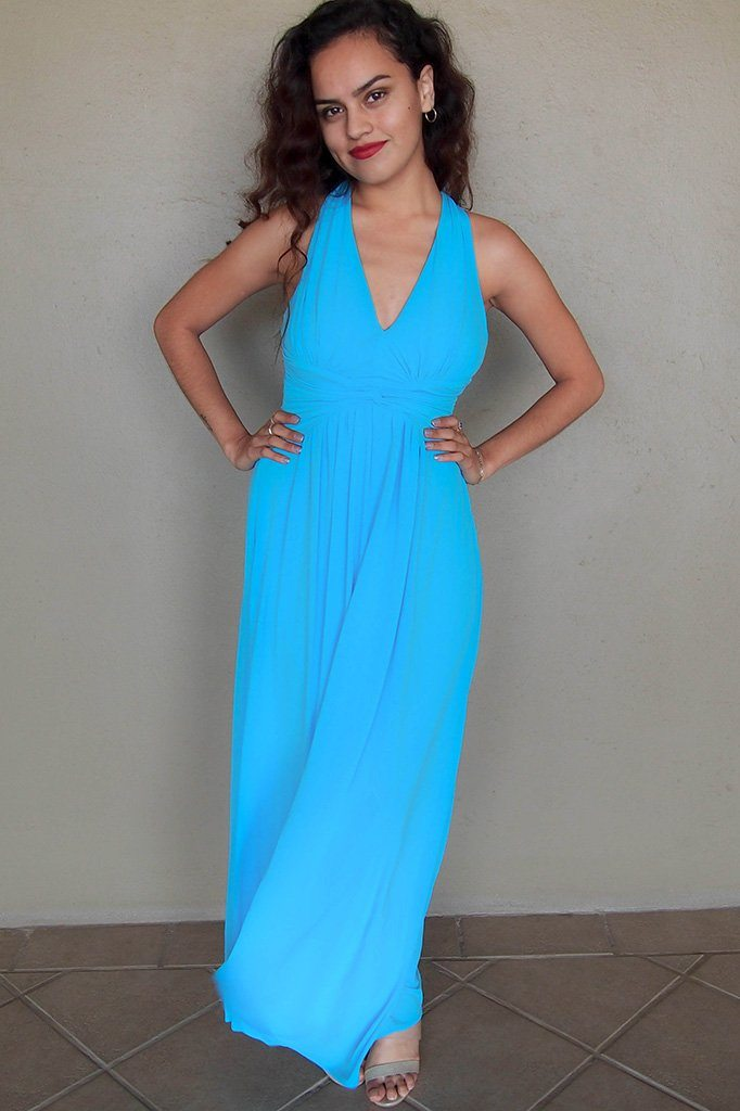 Glimpse Of Glamour Turquoise Blue Halter Maxi Dress 4