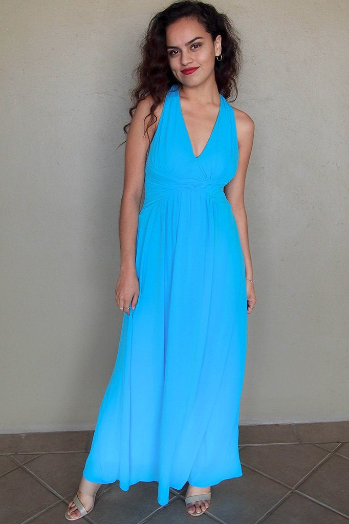 Glimpse Of Glamour Turquoise Blue Halter Maxi Dress 1