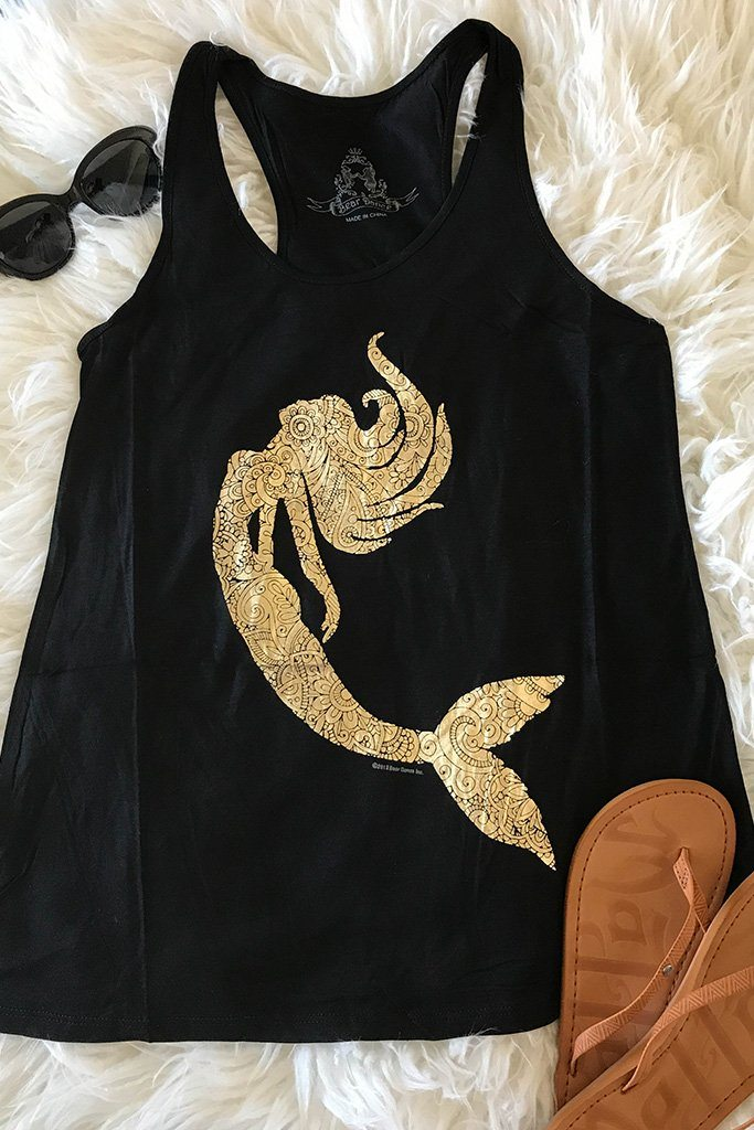 Gold Mermaid Silhouette Black Racerback Tank Top 2