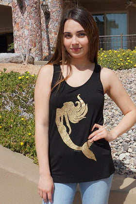 Gold Mermaid Silhouette Black Racerback Tank Top 1