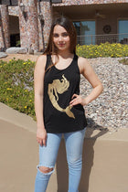 Gold Mermaid Silhouette Black Racerback Tank Top 4