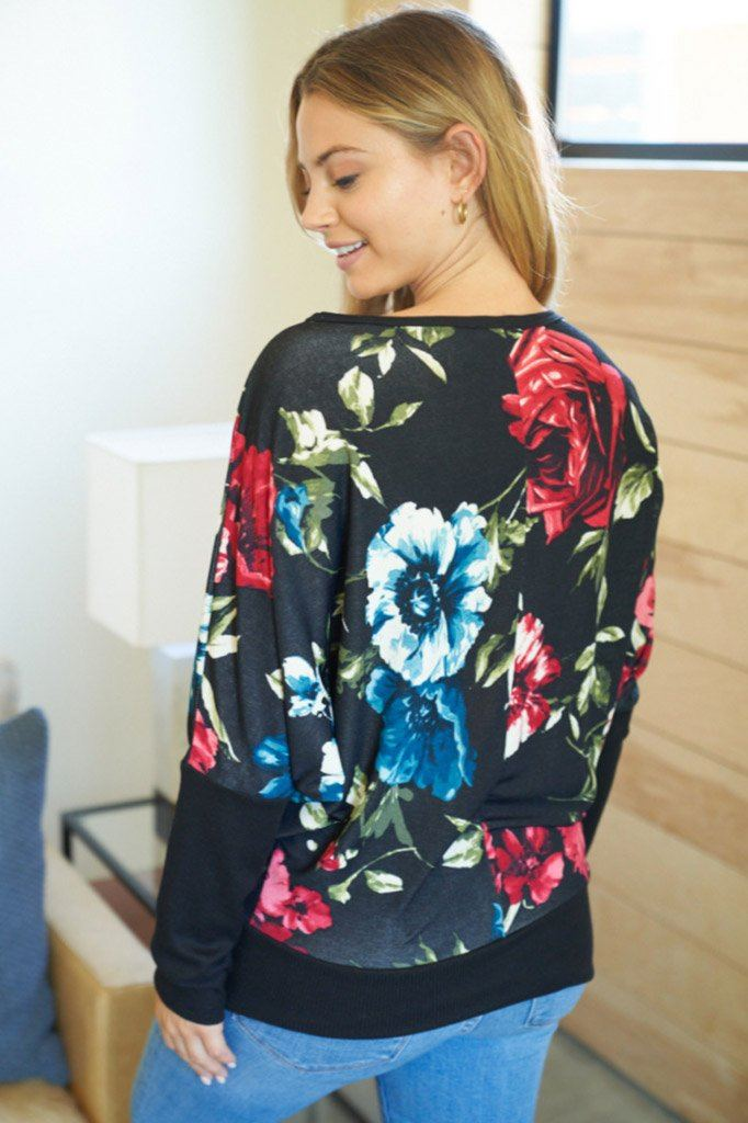 Got It Going On Floral Print Dolman Sleeve Top 2