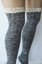 Grey Knit Over Knee Long Thigh High Socks With Cuff 2