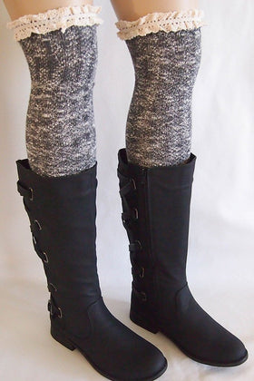 Grey Knit Over Knee Long Thigh High Socks With Cuff 1