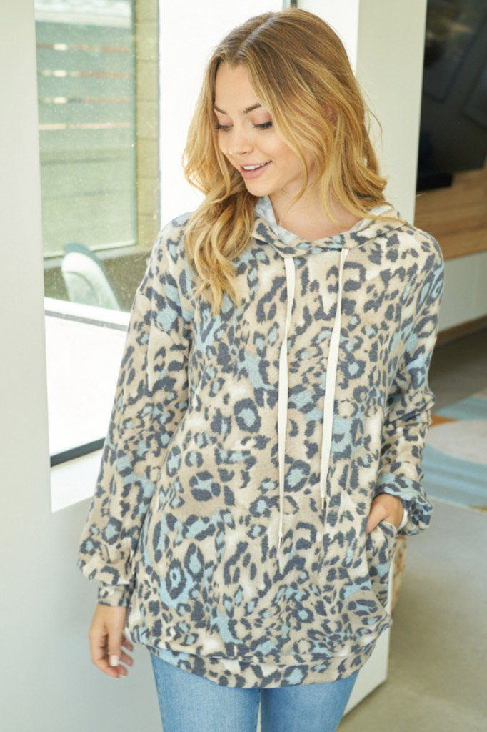 Hard To Resist Blue Cheetah Print Hoodie 3