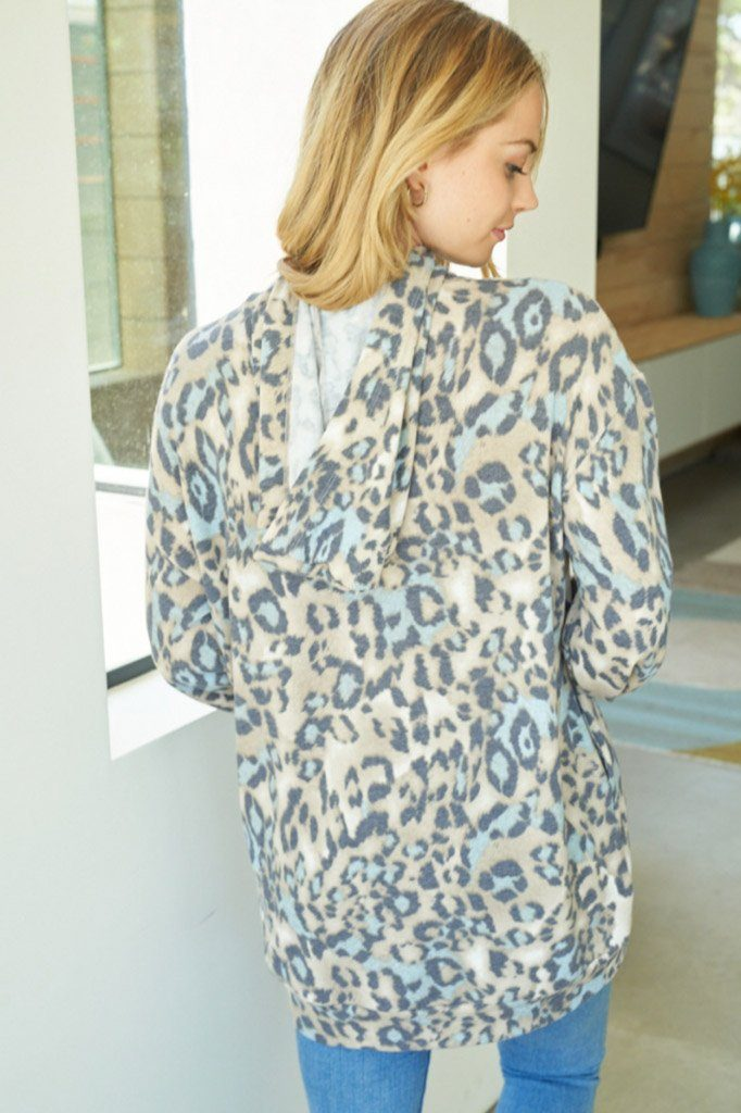 Hard To Resist Blue Cheetah Print Hoodie 2