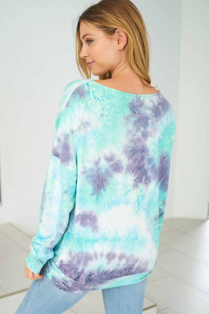 Heart Breaker Blue Multi Tie Dye Top 2