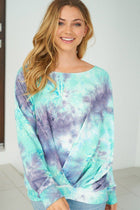 Heart Breaker Blue Multi Tie Dye Top 1