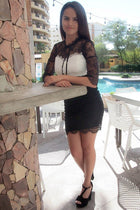 Hearts Collide In Chic Black And White Lace Bodycon Dress 4