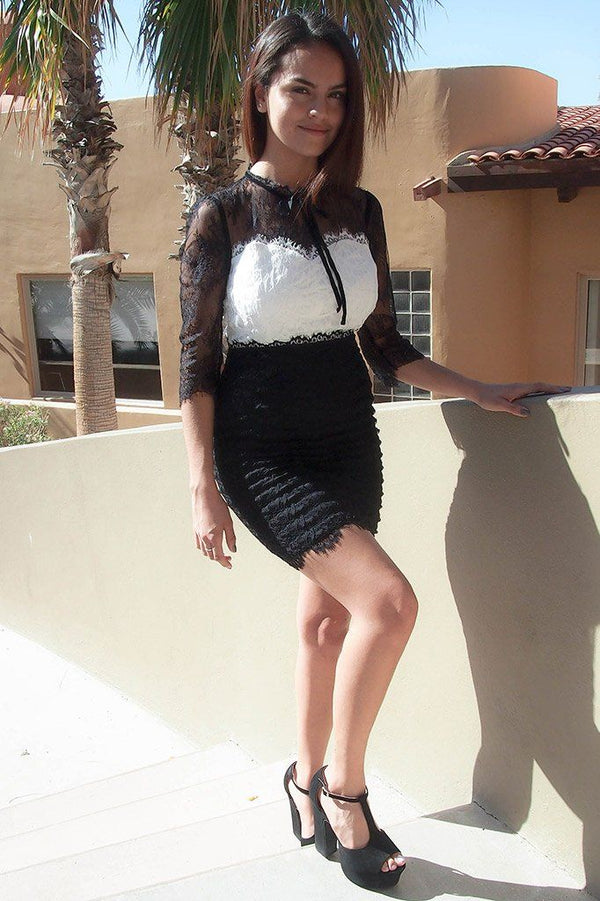 Hearts Collide In Chic Black And White Lace Bodycon Dress 2