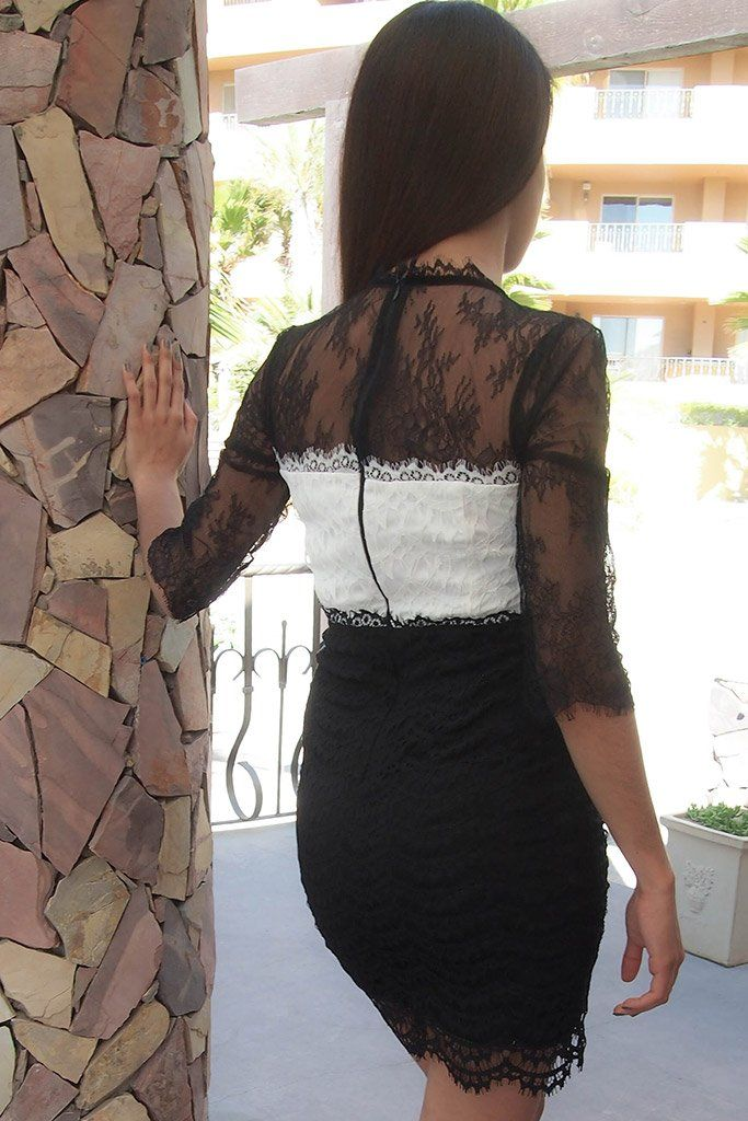 Hearts Collide In Chic Black And White Lace Bodycon Dress 3