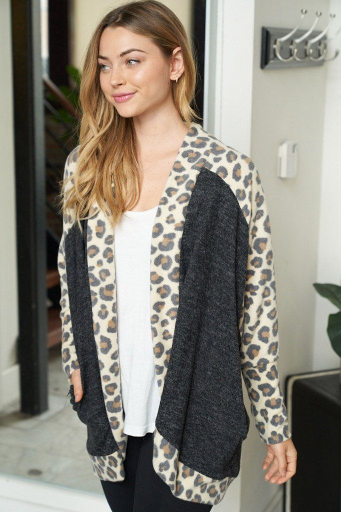 Her Feisty Side Grey Leopard Print Cardigan 3