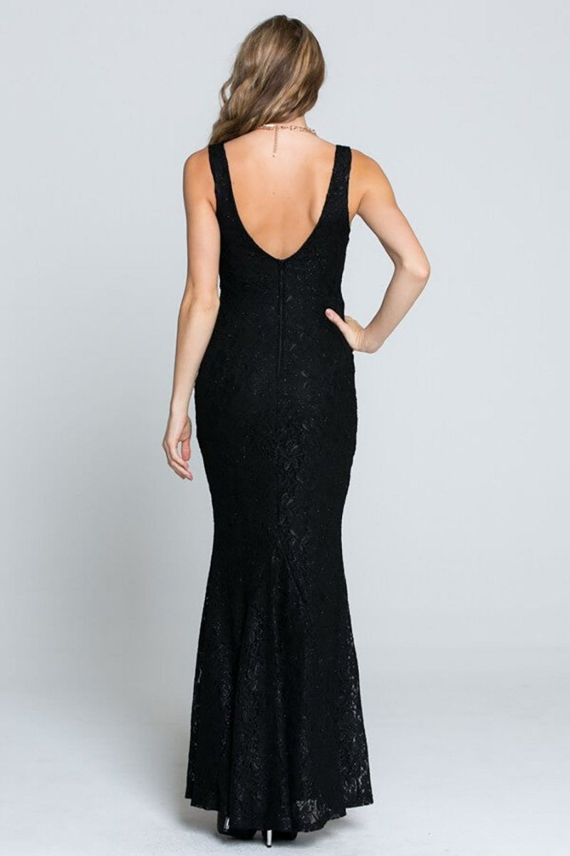 Here To Wow Shimmer Black Lace Maxi Dress 3