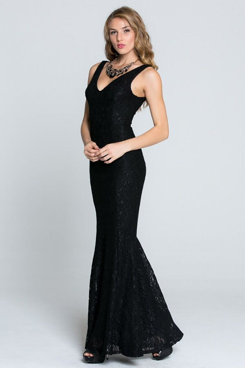 Here To Wow Shimmer Black Lace Maxi Dress 2