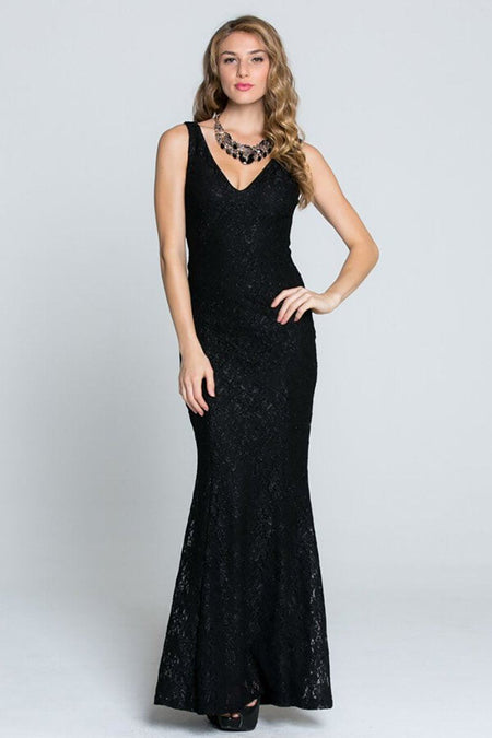 Here To Wow Shimmer Black Lace Maxi Dress 1
