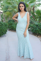 Here To Wow Shimmer Mint Lace Maxi Dress 4