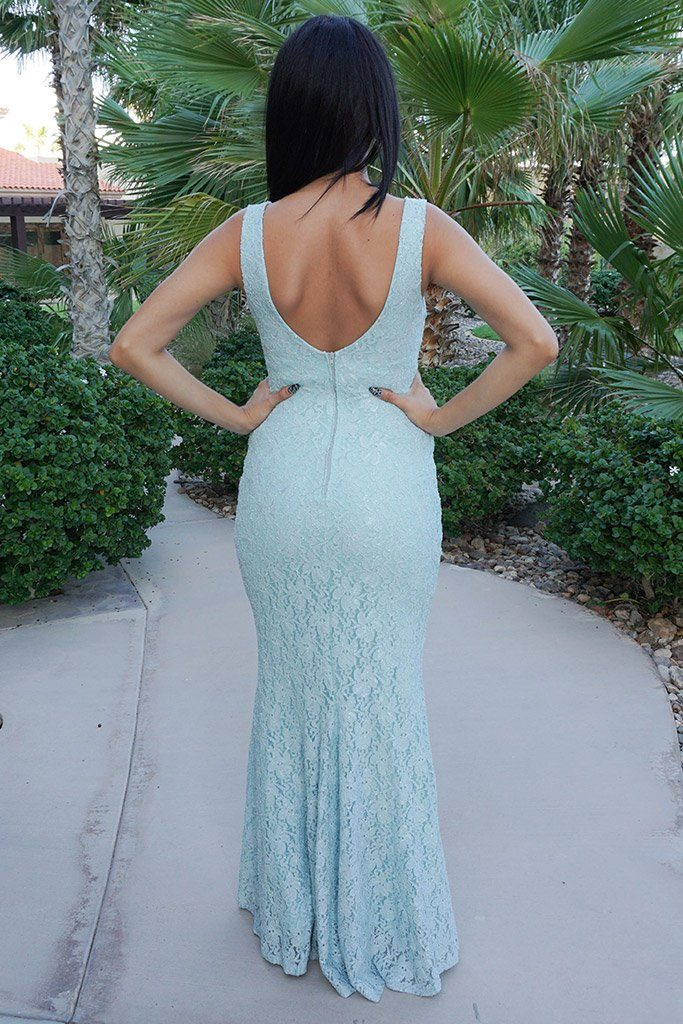 Here To Wow Shimmer Mint Lace Maxi Dress 3