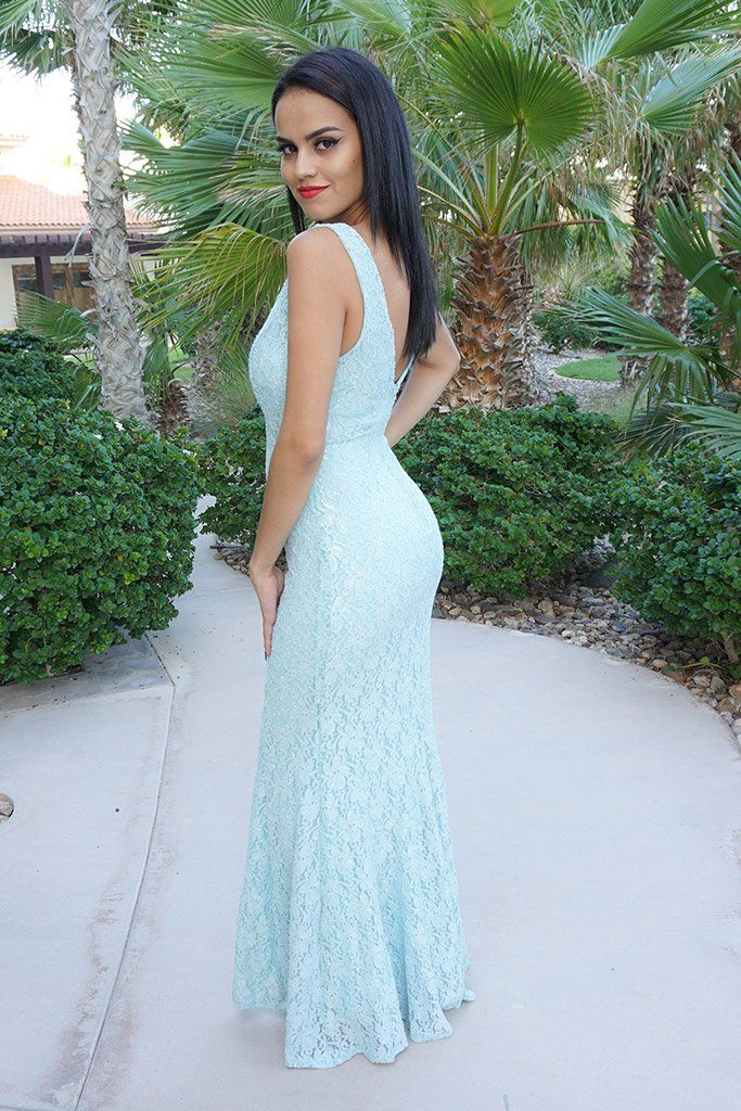 Here To Wow Shimmer Mint Lace Maxi Dress 2