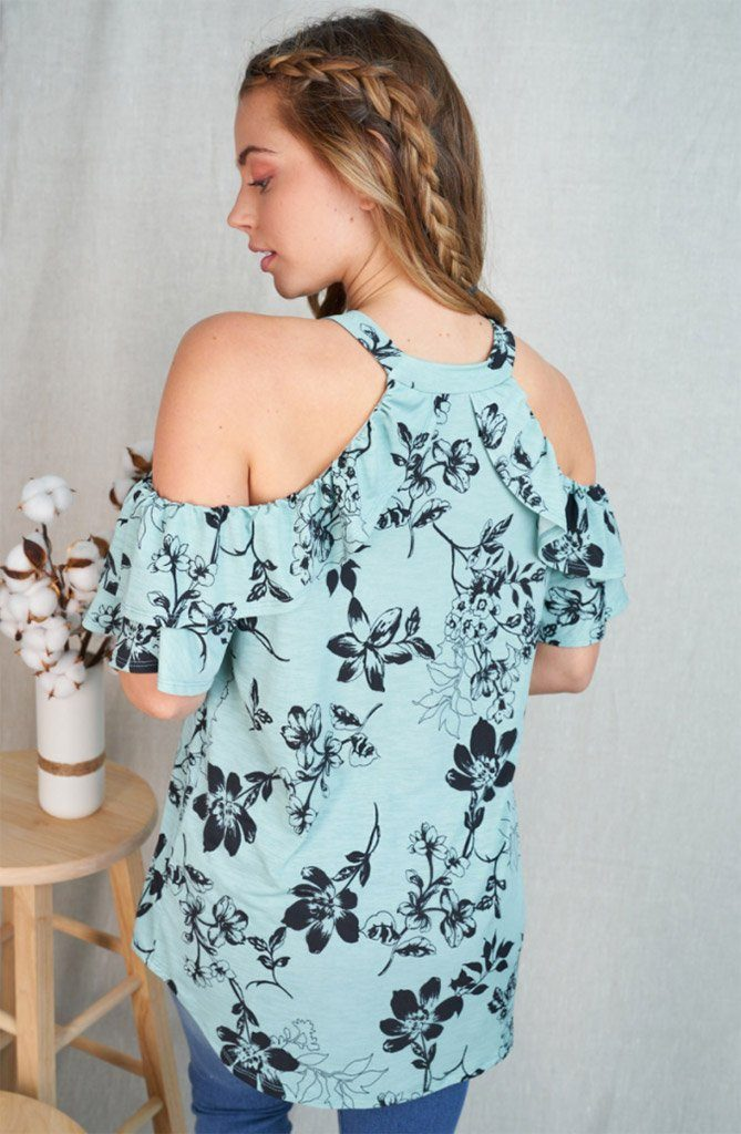 High Demands Mint Floral Ruffle Cold Shoulder Top 2
