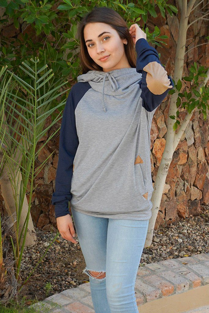 In My Dreams Heather Grey Elbow Patch Pullover Hoodie 3