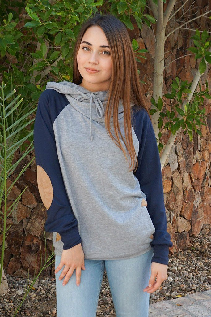 In My Dreams Heather Grey Elbow Patch Pullover Hoodie 1