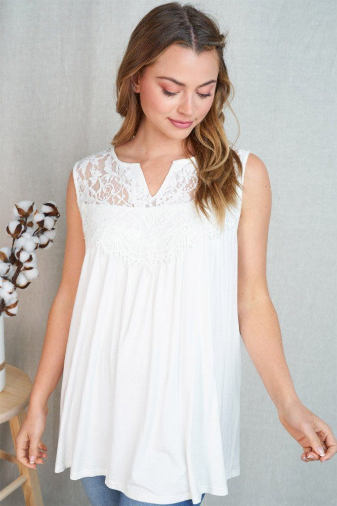 In My Element White Lace Babydoll Tank Top 3
