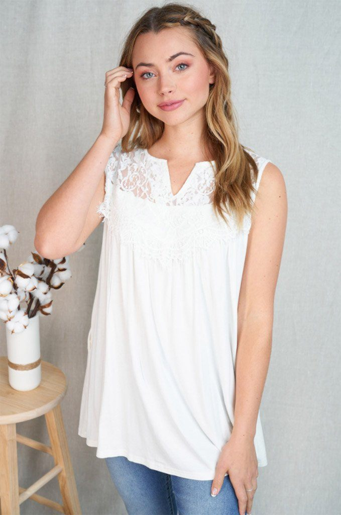 In My Element White Lace Babydoll Tank Top 4