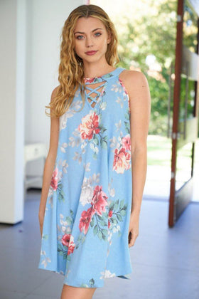 In Over My Head Blue Floral Print Dress 1