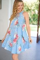 In Over My Head Blue Floral Print Dress 3
