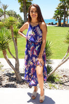 In The Tropics Floral Print Halter High Low Maxi Dress 4