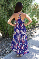 In The Tropics Floral Print Halter High Low Maxi Dress 3