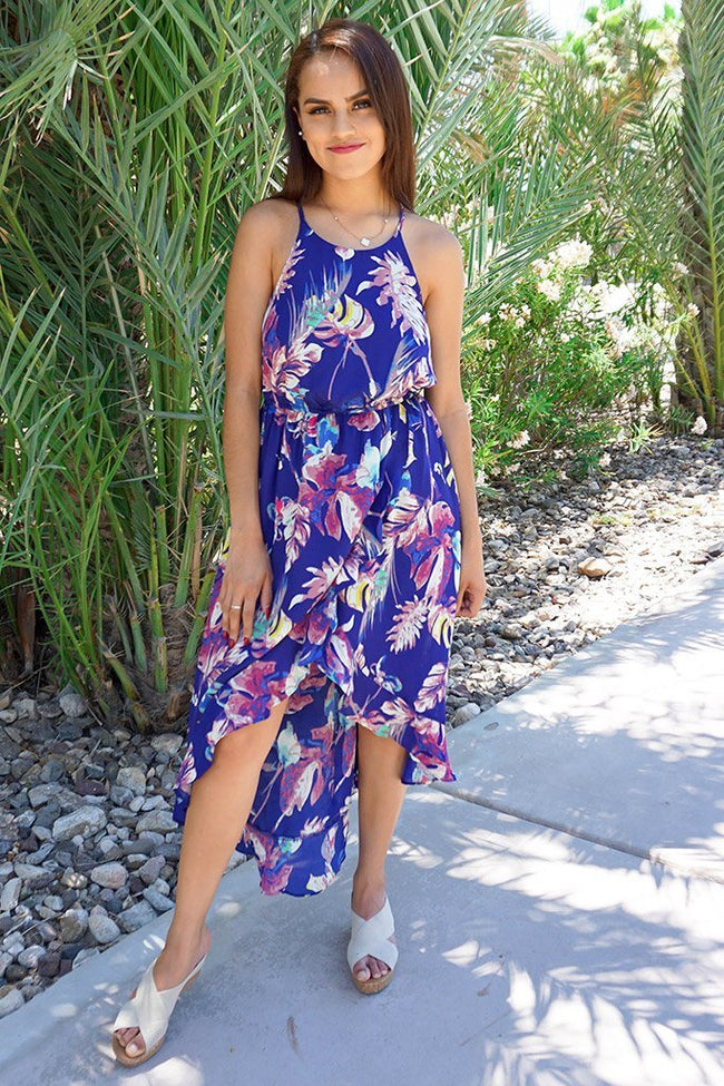 In The Tropics Floral Print Halter High Low Maxi Dress 1
