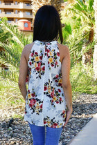 In Your Arms White Floral Print Ruffle Halter Top 3