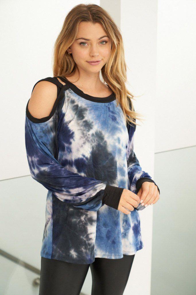 Influencer Status Blue Tie Dye Cut Out Top 3