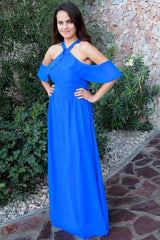 Into The Night Royal Blue Off The Shoulder Maxi Dress