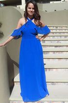 Into The Night Royal Blue Off The Shoulder Maxi Dress 1