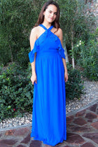 Into The Night Royal Blue Off The Shoulder Maxi Dress 4