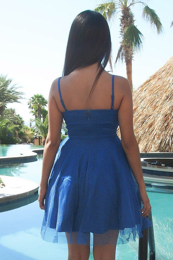 Into The Night Royal Blue Skater Dress 3