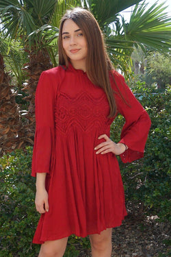 Irresistible Charm Red Crochet Lace Mini Dress 1