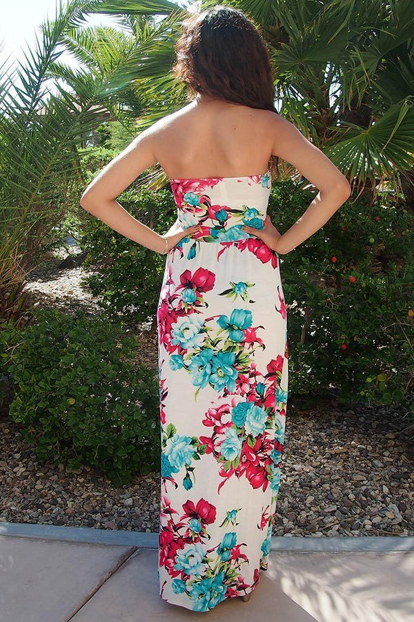 Island Life Ivory Tropical Floral Print Strapless Maxi Dress 3