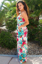 Island Life Ivory Tropical Floral Print Strapless Maxi Dress 2