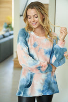 It's A Breeze Blue Coral Tie Dye Waffle Knit Top 3